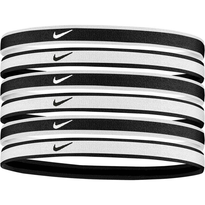NIKE TIPPED SWOOSH HAIRBANDS 2.0 BLACK/WHITE 6p.