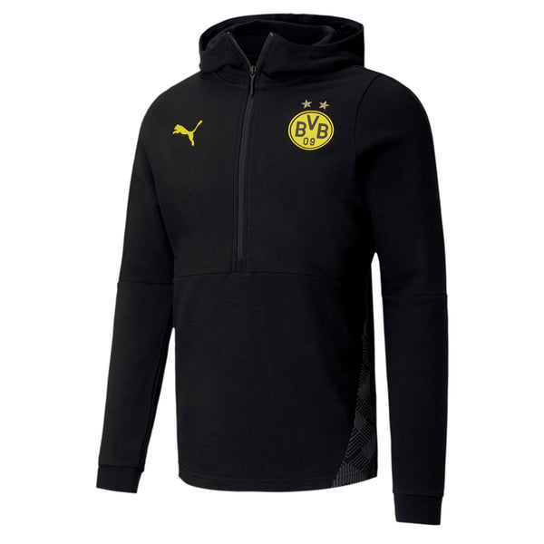 PUMA DORTMUND 20-21 CASUAL HOODY BLACK/CYBER YELLOW
