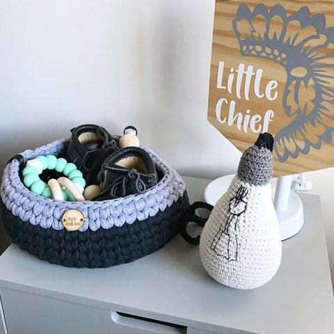 Crochet Storage Basket - Navy Blue + Grey