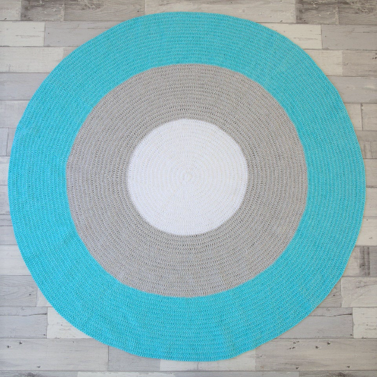 Nursery Round Crochet Rug - Mint, Grey + White