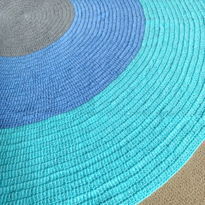 Nursery Round Crochet Rug - Mint, Blue + Grey