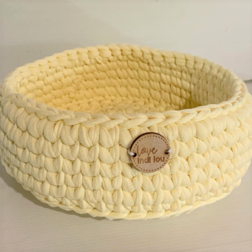 Crochet Storage Basket - Pastel Yellow