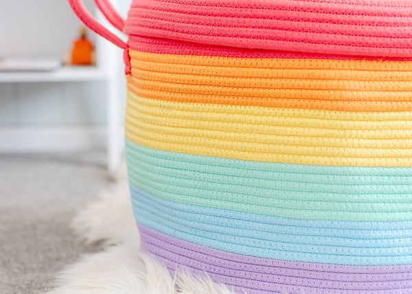 BUNDLE BUY - Nursery Round Rug + Cotton Rope Large Basket - Rainbow