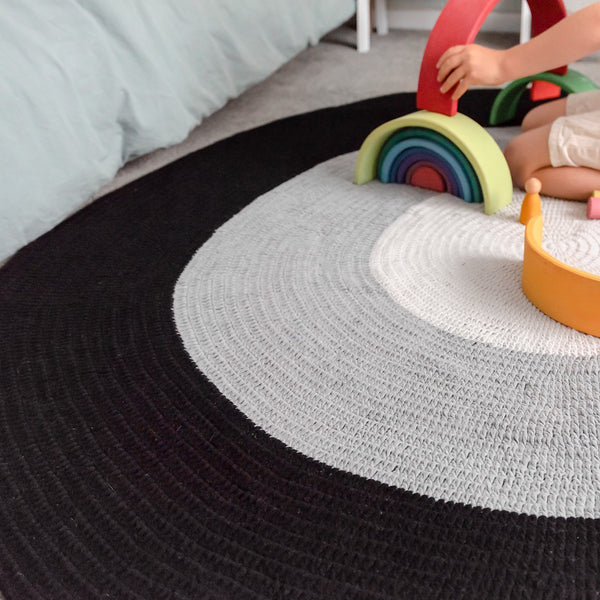 Nursery Round Crochet Rug - Black, Grey + Light Grey