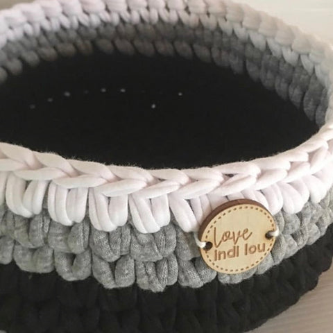 Crochet Storage Basket - Black, Grey + White