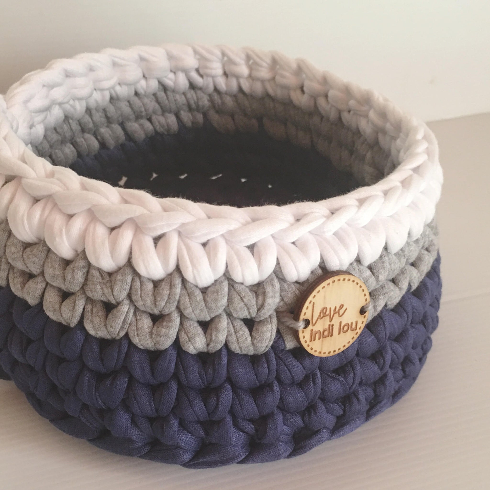 Crochet Storage Basket - Navy Blue, Grey + White