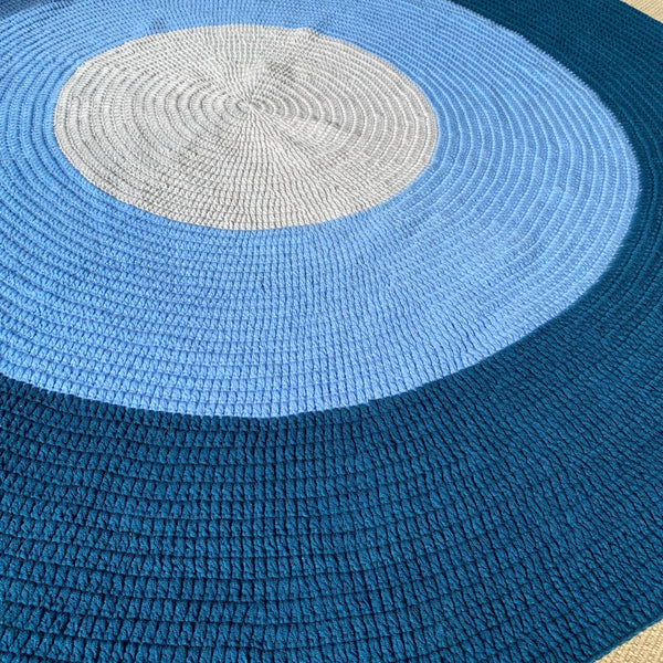 Navy Blue, Light Blue + Grey Round Crochet Rug - 100% Cotton Wool