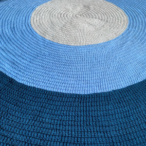 Nursery Round Crochet Rug - Navy Blue, Light Blue + Grey