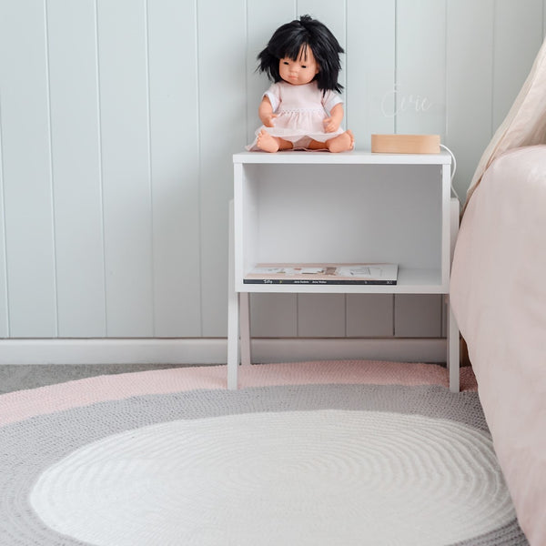 Nursery Round Crochet Rug - Blush Pink, Grey + White