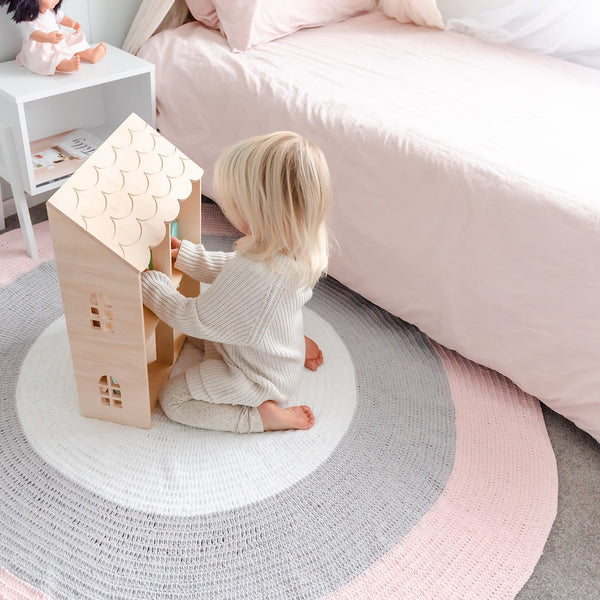 BUNDLE BUY - Nursery Round Crochet Rug + Basket - Blush Pink, Grey + White