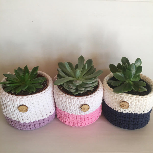 Crochet Pot Shape Basket - Small - Plant holder - Home Decor