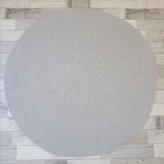Nursery Round Crochet Rug - Grey