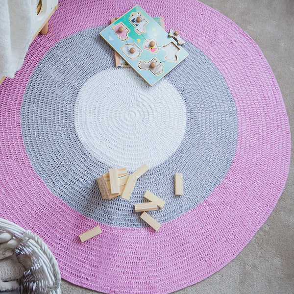 BUNDLE BUY - Nursery Round Crochet Rug + Basket - Dusty Pink, Grey + White