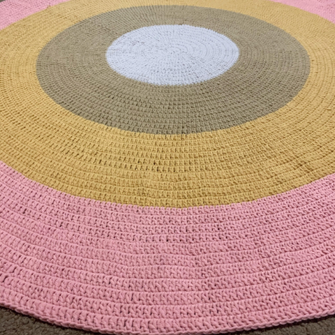 Nursery Round Crochet Rug - Earthy Rainbow