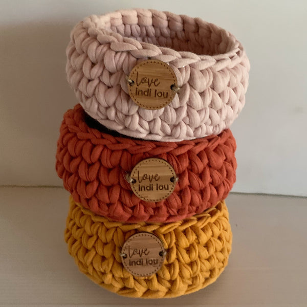 Crochet Storage Basket - Rust