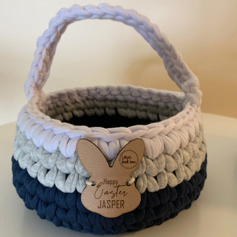 Easter Basket - Navy Blue, Grey + White - Personalised - Custom Colours - Crochet basket - Handmade