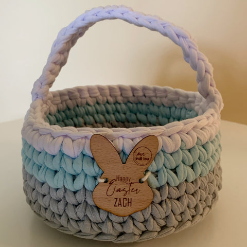 Easter Basket - Light Blue, Grey + White