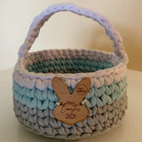 Easter Basket - Rainbow - Personalised - Custom Colours - Crochet basket - Handmade
