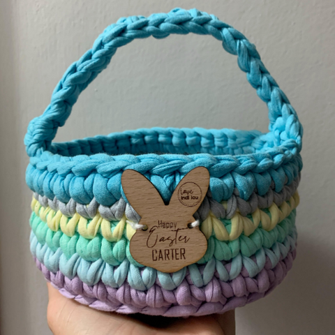 Easter Basket - Rainbow Blues - Personalised - Custom Colours - Crochet basket - Handmade