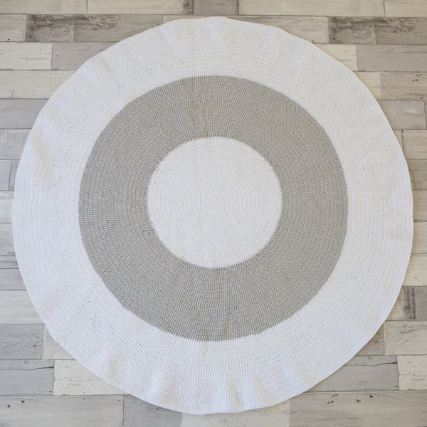 Light Grey + White Round Crochet Rug - 100% Cotton Wool