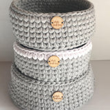 Basket - Medium - Nursery Storage - Home Decor - Crochet Basket - Two Colours