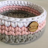 Pink, Grey + White Basket - Nursery Decor - Crochet Basket - Nursery Storage