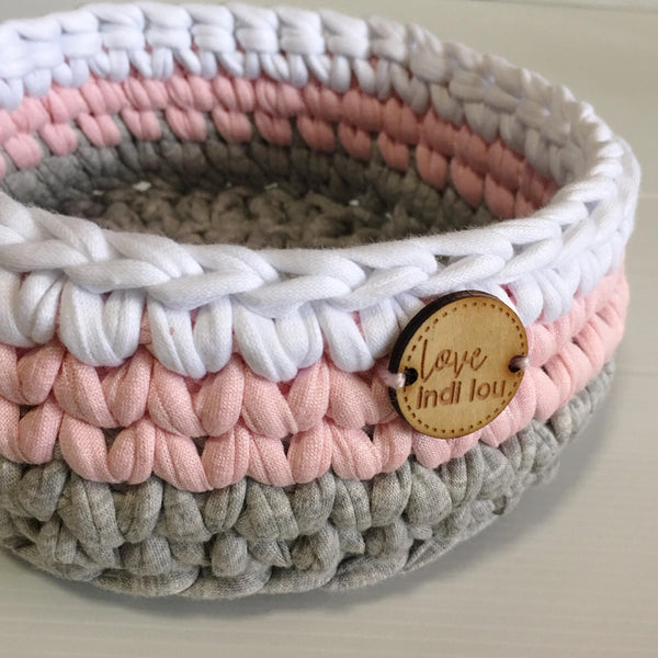 Crochet Storage Basket - Pale Pink, Grey + White