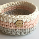 Pink, Grey + White Basket - Nursery Storage - Home Decor - Crochet Basket