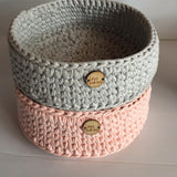 Pale Pink Basket - Nursery Decor - Crochet Basket - Nursery Storage
