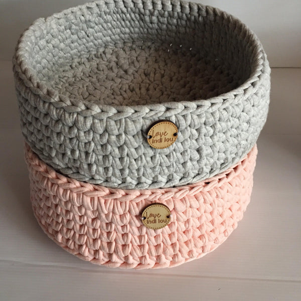 Crochet Storage Basket - Blush Pink