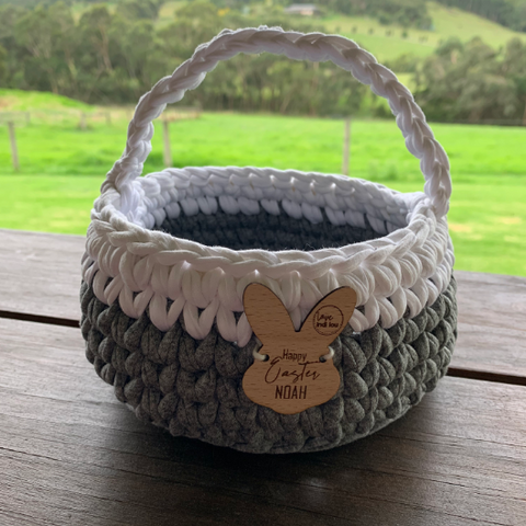 Easter Basket - Grey + White