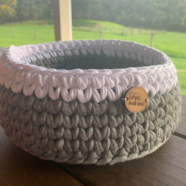 Crochet Storage Basket - Grey + White