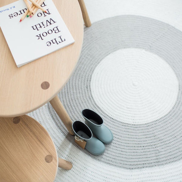 Nursery Round Crochet Rug - Grey + White