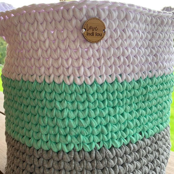 Crochet Storage Basket - Mint, Grey + White