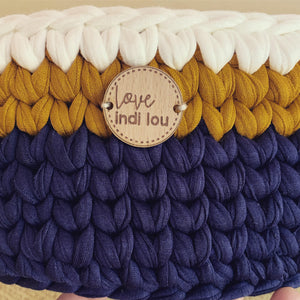 Crochet Storage Basket - Navy Blue, Mustard + Cream