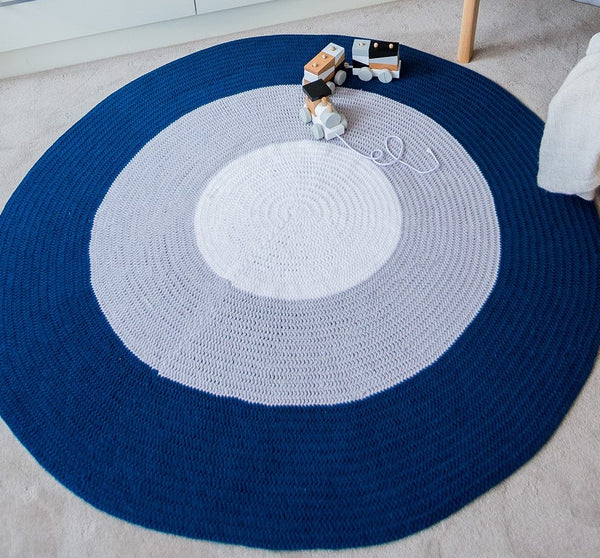 Nursery Round Crochet Rug - Navy Blue, Grey + White