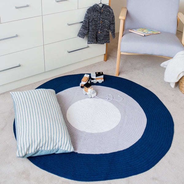 BUNDLE BUY - Nursery Round Crochet Rug + Basket - Navy Blue, Grey + White