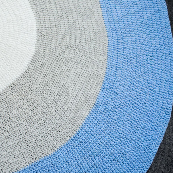Nursery Round Crochet Rug - Pastel Blue, Grey + White