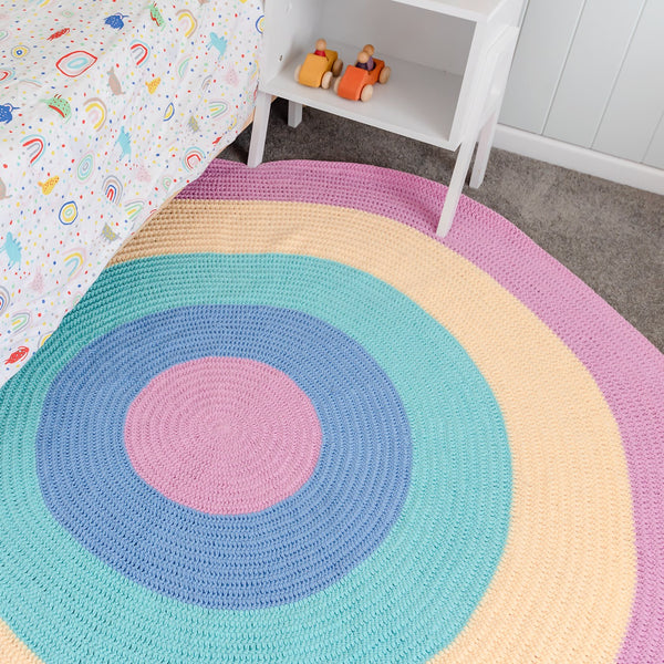 Nursery Round Crochet Rug - Pink Rainbow - Pink, Blue, Mint, Yellow, Pink