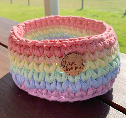Crochet Storage Basket - Pastel Rainbow
