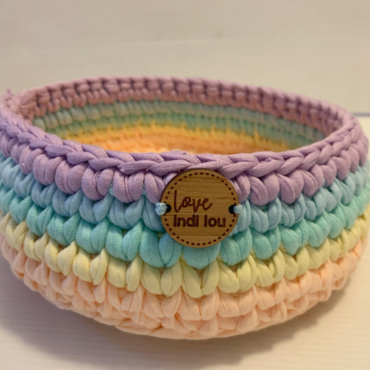 Crochet Storage Basket - Rainbow Lilac