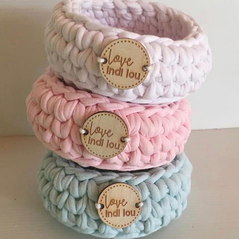 BUNDLE BUY - Crochet Storage Baskets - SET OF 3 - Pastel - Mint, Pink + White