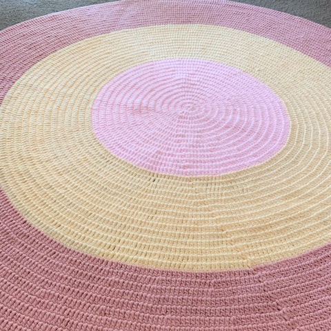 Nursery Round Crochet Rug - Pastel Pinks + Yellow