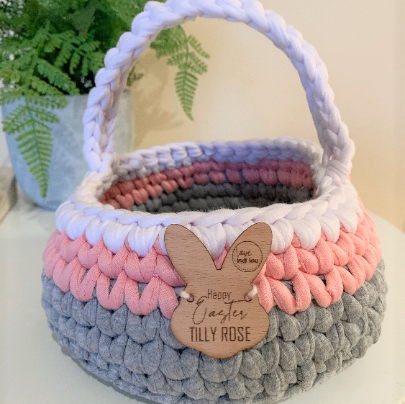 Easter Basket - Pink, Grey + White