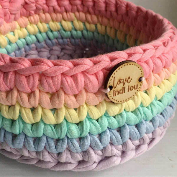 Crochet Basket - Rainbow - Nursery Storage - Home Decor