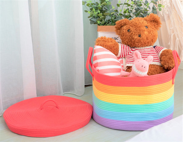 Rainbow Cotton Rope Basket