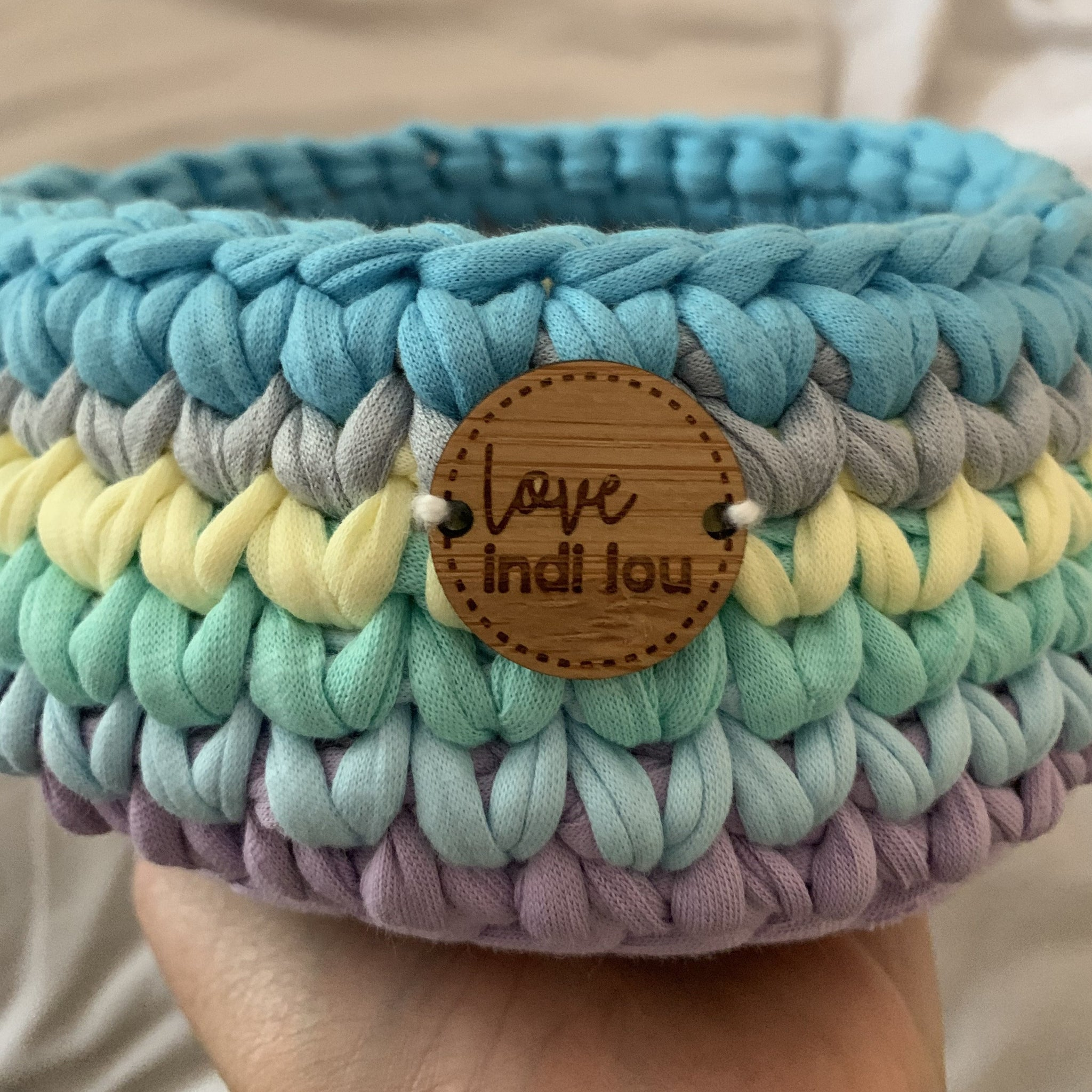 Crochet Storage Basket - Rainbow Blues