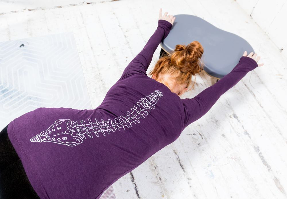 Long Sleeve Bamboo T-shirt - Pilates Cat, Eggplant Purple