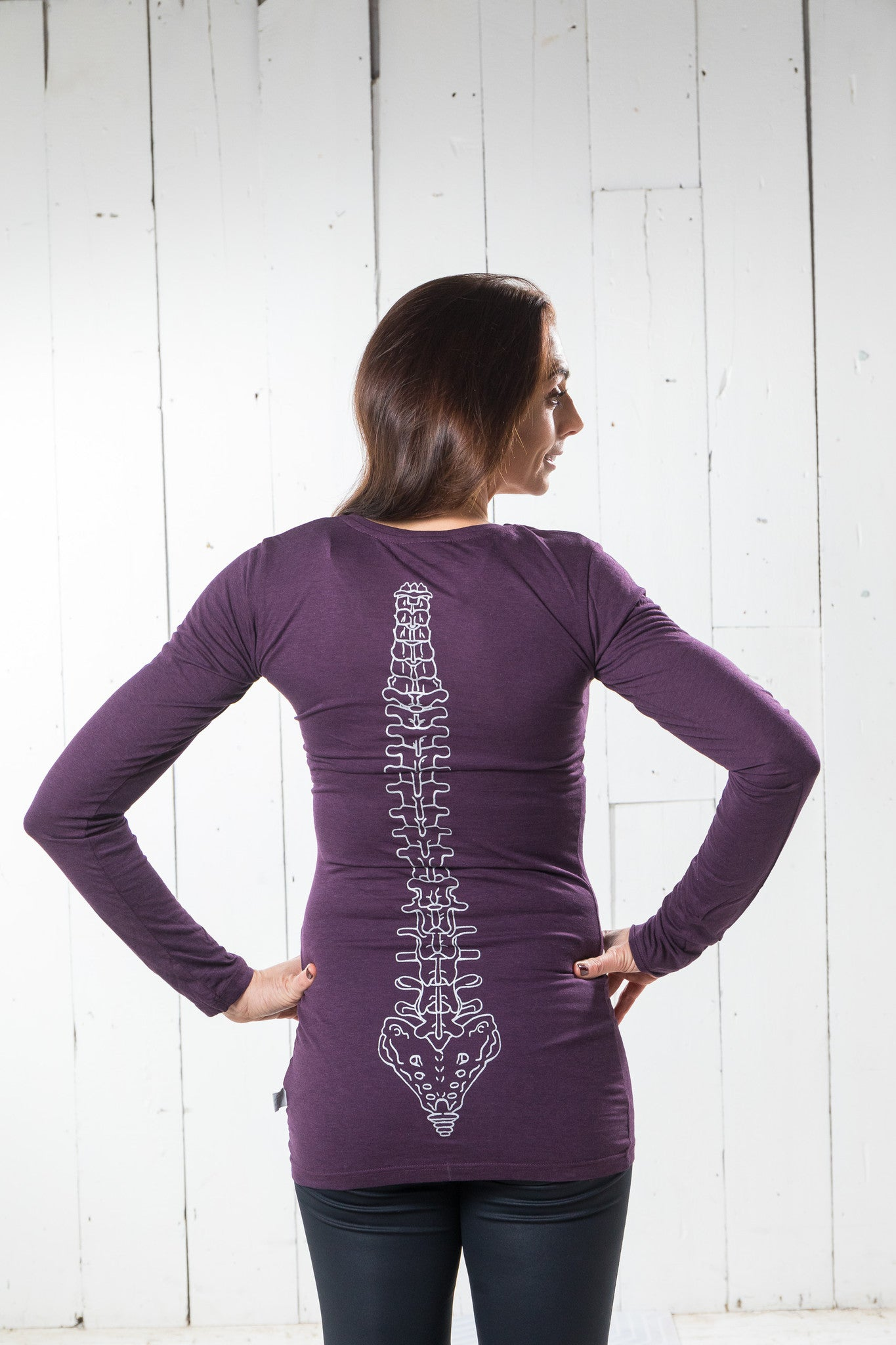 Long Sleeve Bamboo T-shirt - Flexible, Eggplant Purple