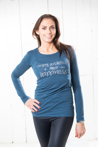 Long Sleeve Bamboo T-shirt - Happiness, Denim Blue